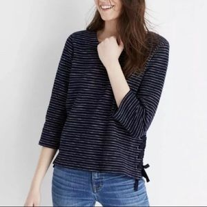 Madewell Navy & White Striped Cotton Side-Lace Top